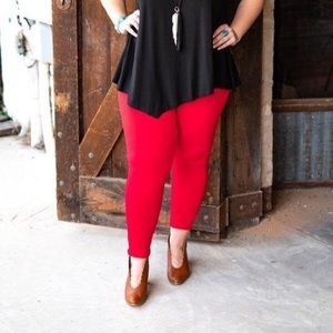 Red high waisted plus size leggings
